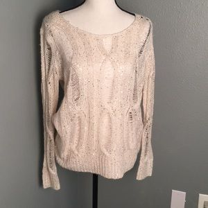 Jennifer Lopez Cream Sequin Sweater